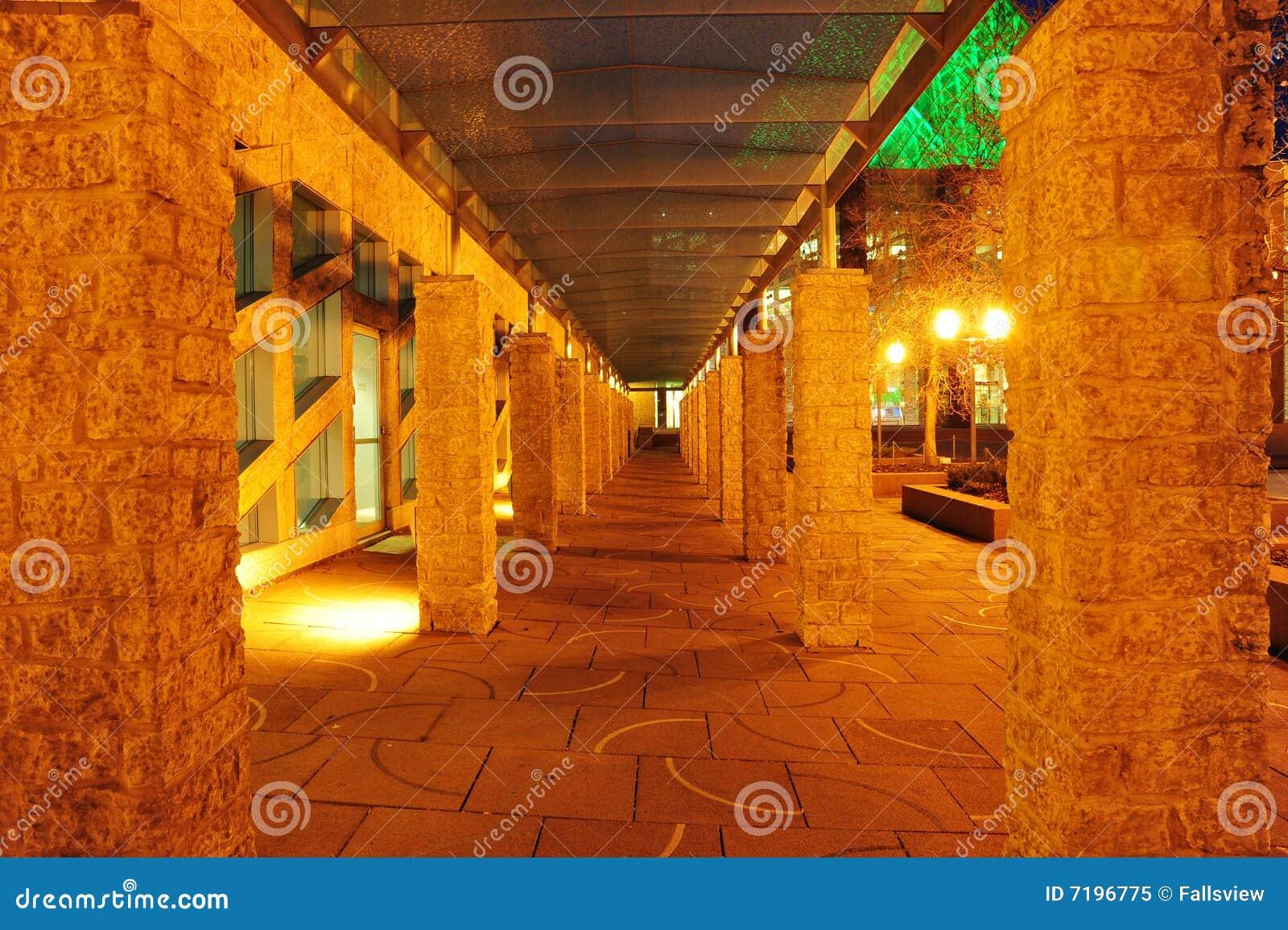 City corridor hall night scene