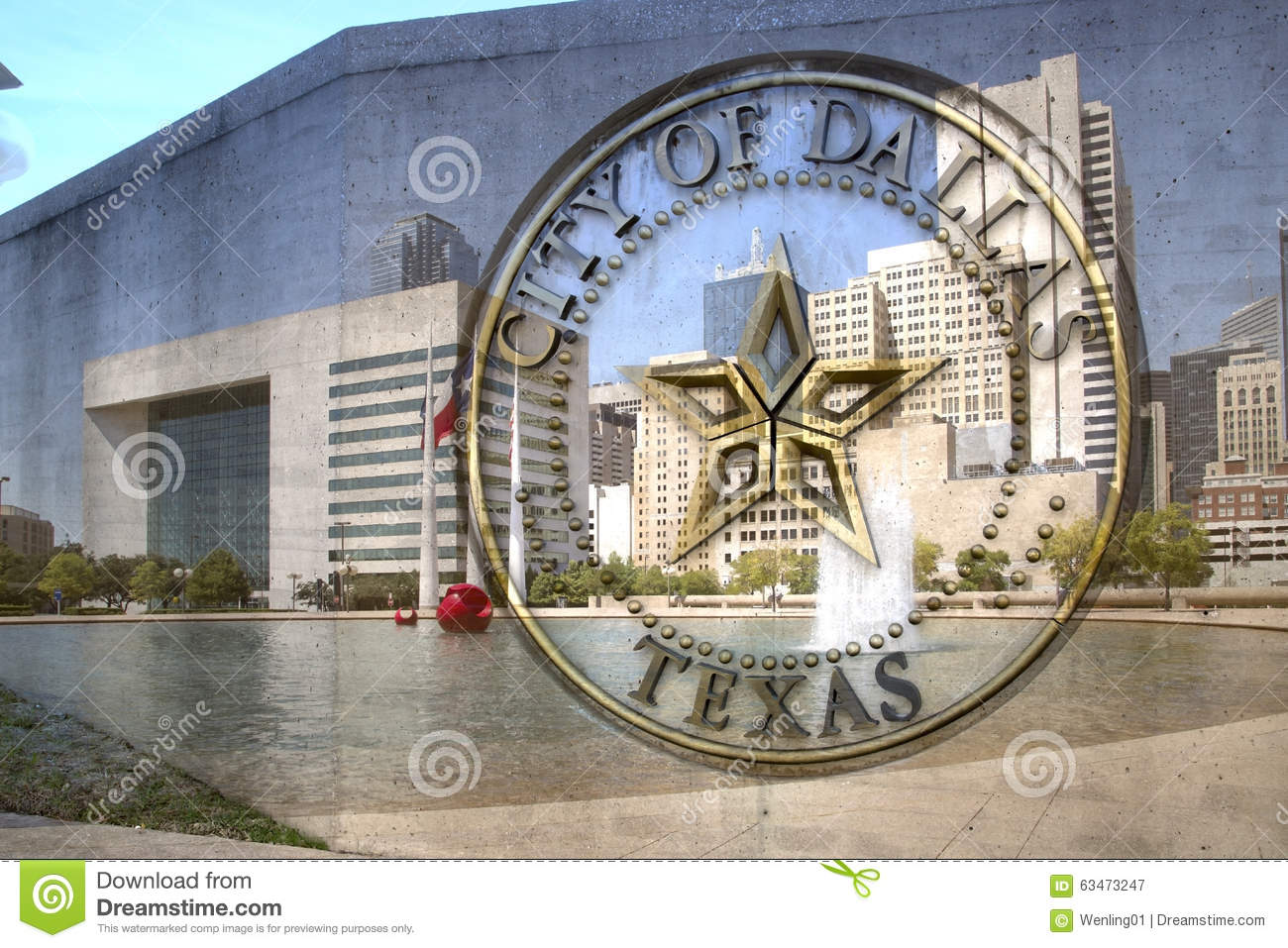 City of  Dallas TX sign and city hall