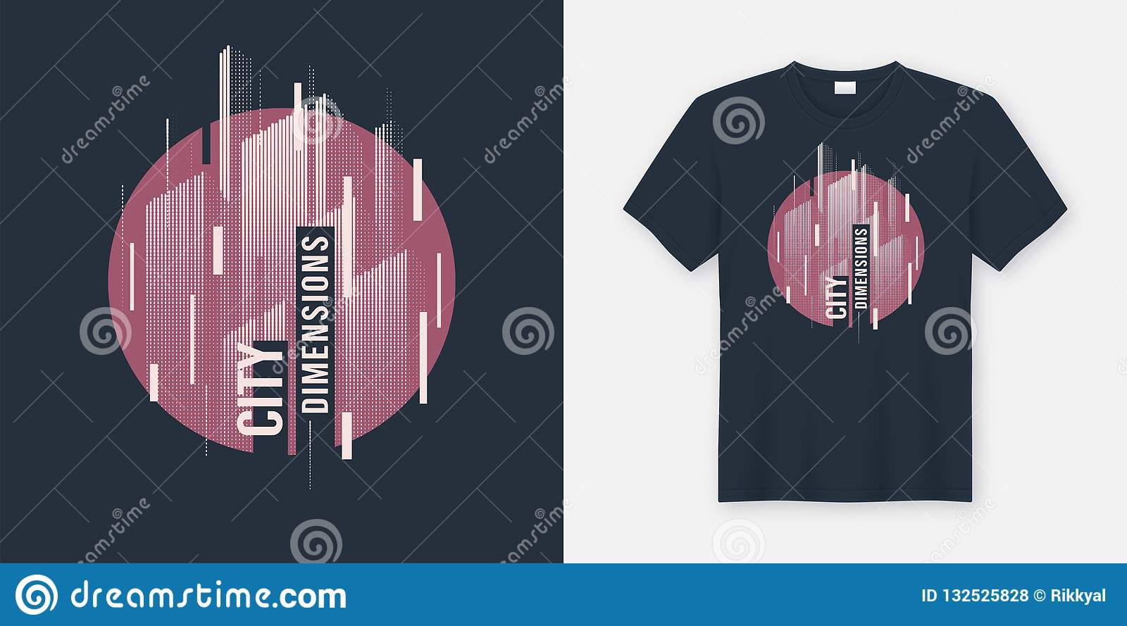 City Dimensions Vector T Shirt Abstract Geometric Dynamic Design