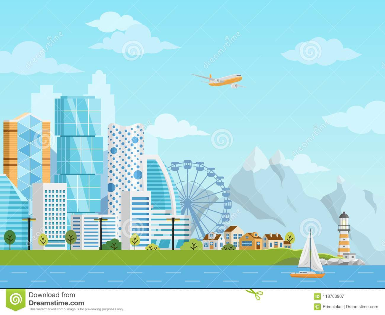 cd074c7785 City Downtown And Suburb Vector Panorama Stock Vector - Illustration ...