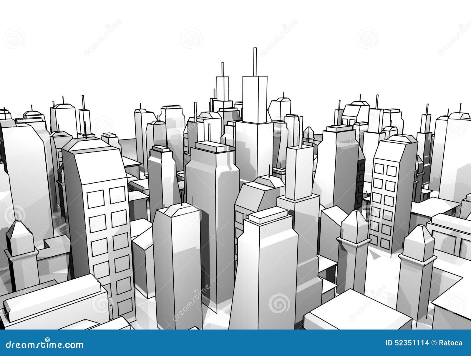 City Draw Stock Illustration Illustration Of Exterior 52351114