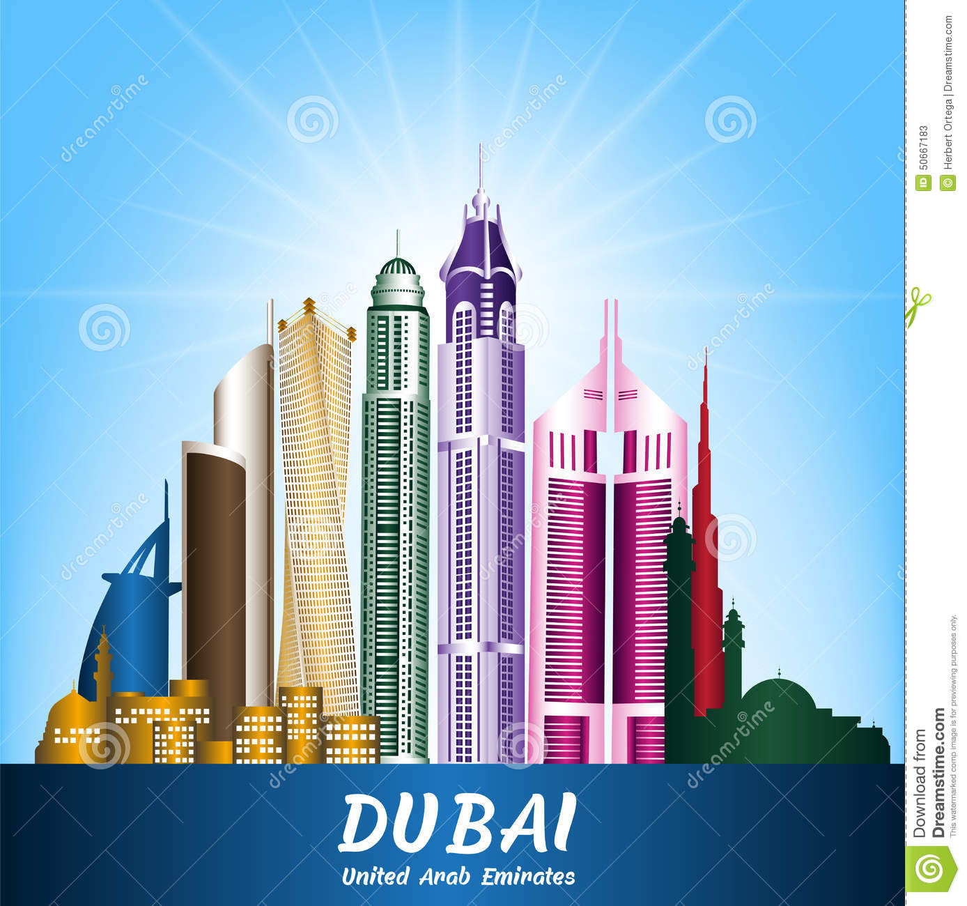 City of dubai uae famous buildings stock vector for Famous structures in dubai
