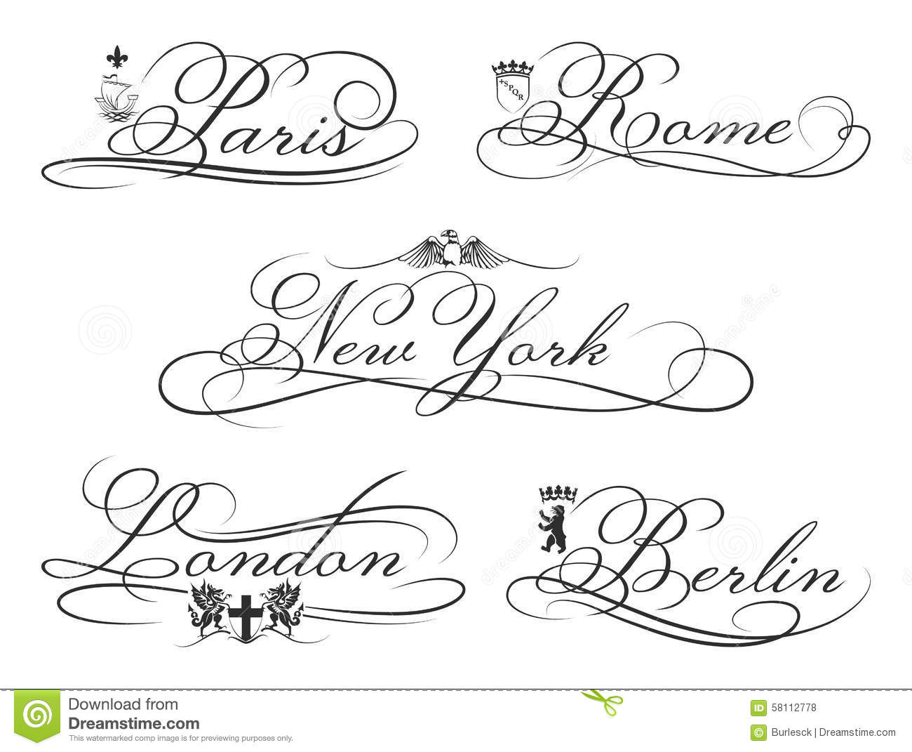 City Emblems With Calligraphic Elements Cities Stock