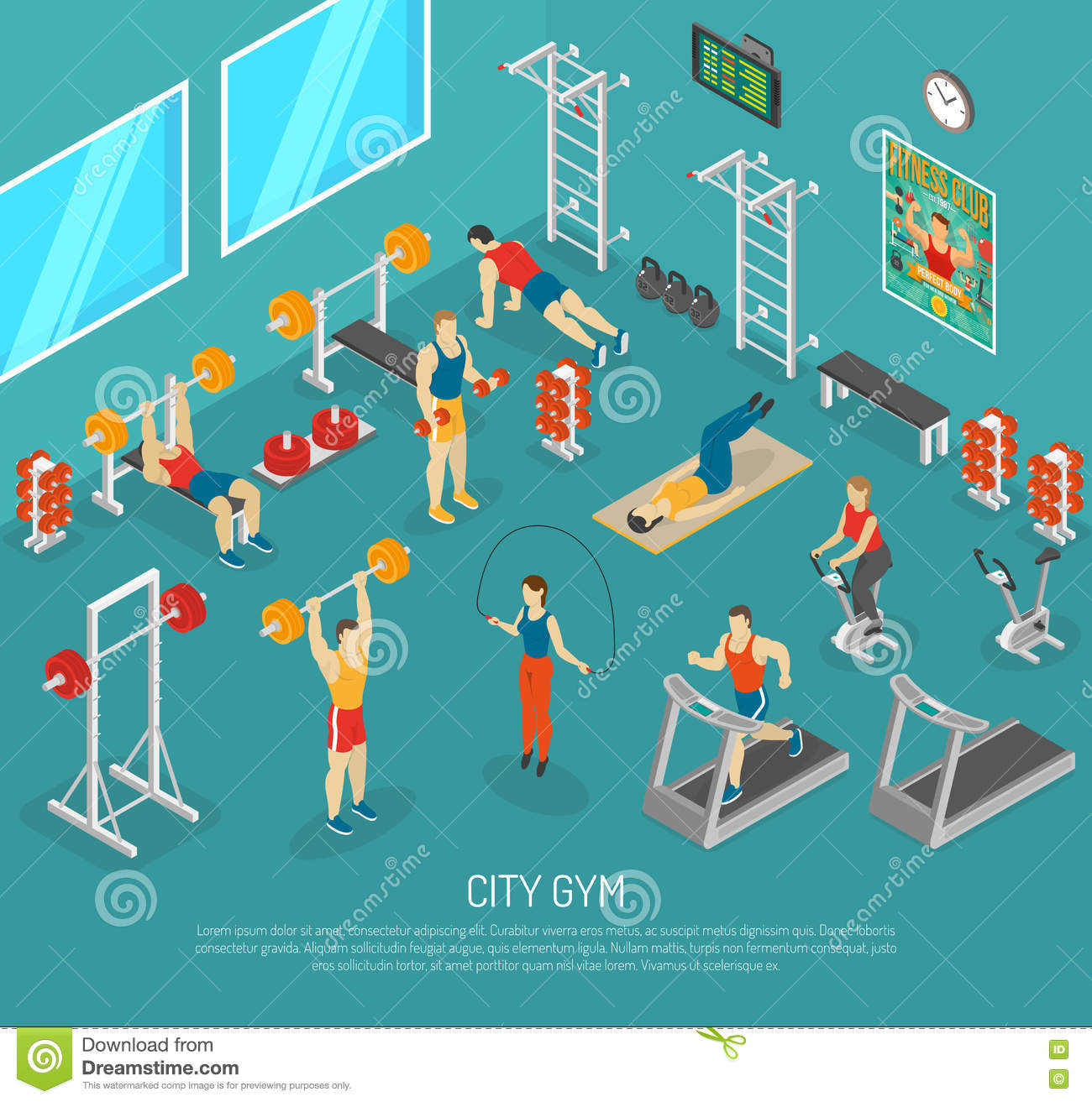 Isometric Exercises Equipment: City Fitness Gym Center Isometric POster Stock Vector