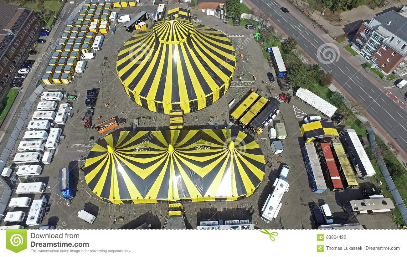 City Flic Flac with circus tent in the sun  High, colorful