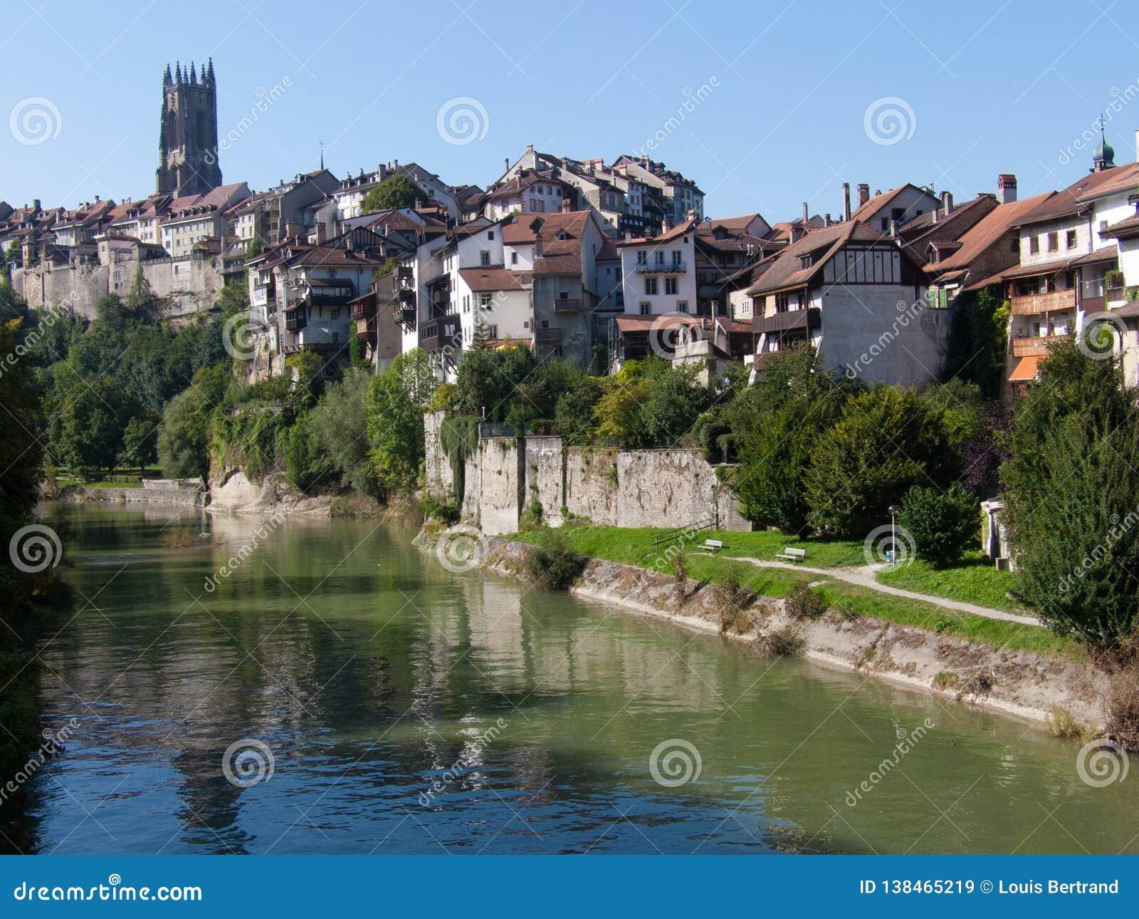 City Of Friborg Canton In Switzerland Stock Image - Image of ...
