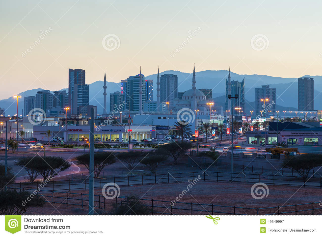 Fujairah United Arab Emirates  city images : ... Fujairah at dusk. December 14, 2014 in Fujairah, United Arab Emirates