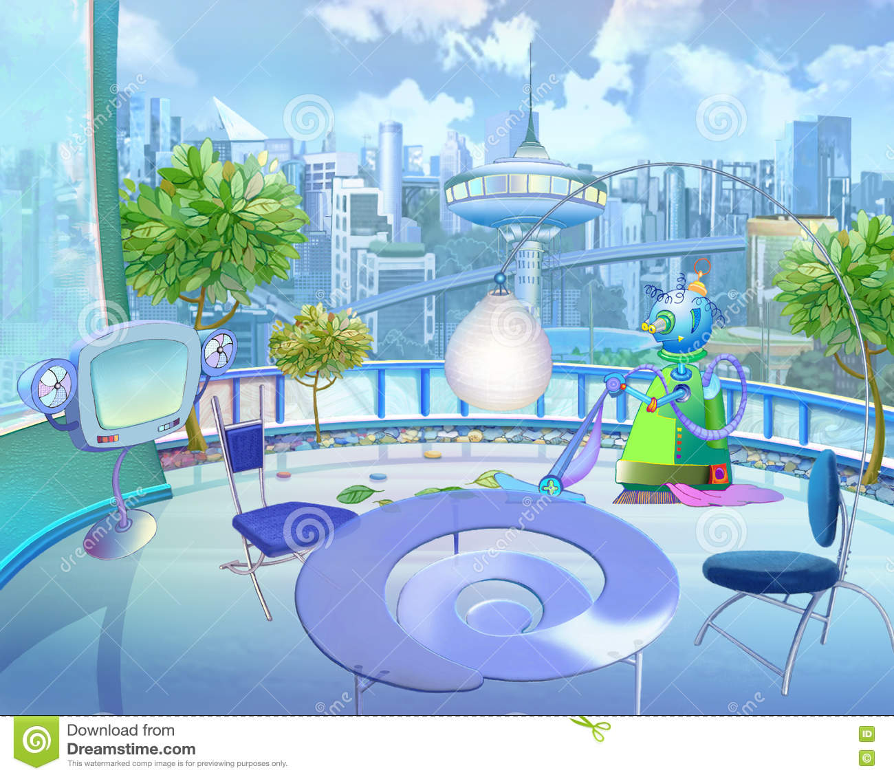 City Of The Future In Children's Fantasies Stock ...