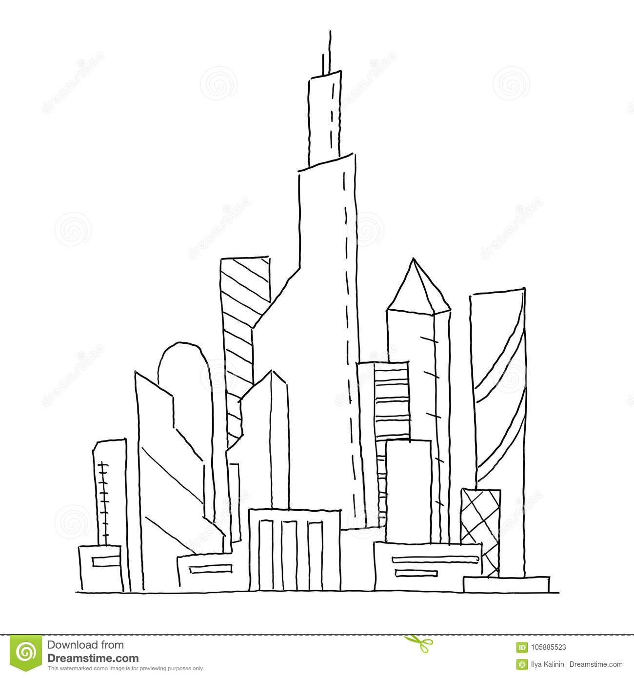 architectural drawings of skyscrapers. Contemporary Skyscrapers Hand Drawn Vector Sketch Illustration Building Skyscraper Architecture  Landscape Very Intended Architectural Drawings Of Skyscrapers
