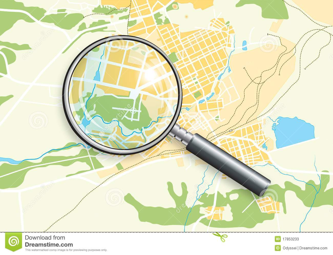 Map Zoom.City Geo Map And Zoom Lens Stock Vector Illustration Of Background