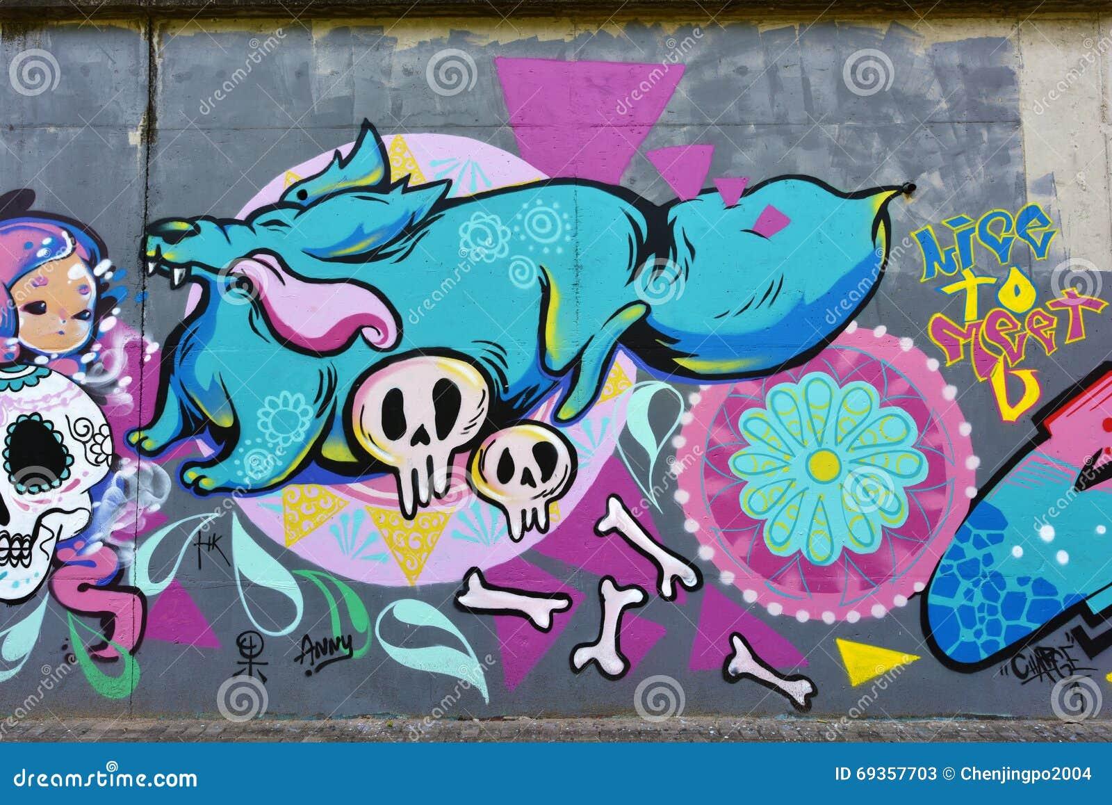 Cement Wall Graffiti : The city graffiti on cement wall editorial stock photo