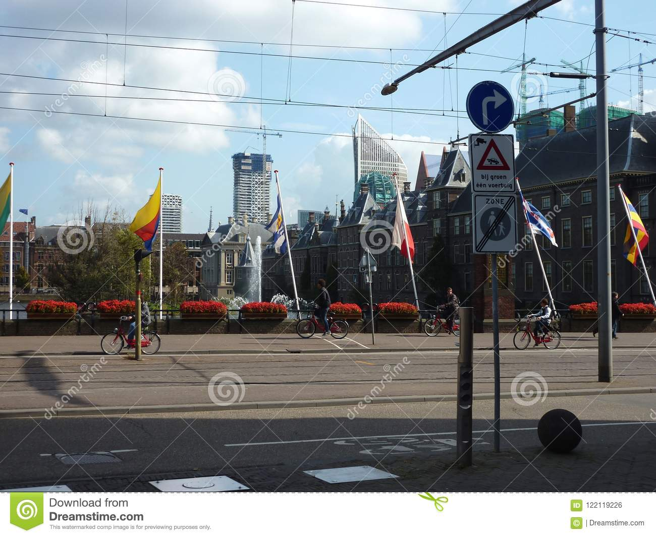 City of the Hague, busy streets and traffic signs