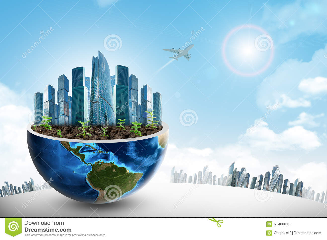 city in half earth stock image image of earth modern