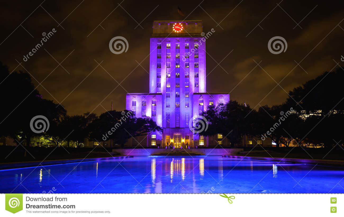Download City Hall Building Lit Up At Night In Houston, Texas Stock Photo    Image