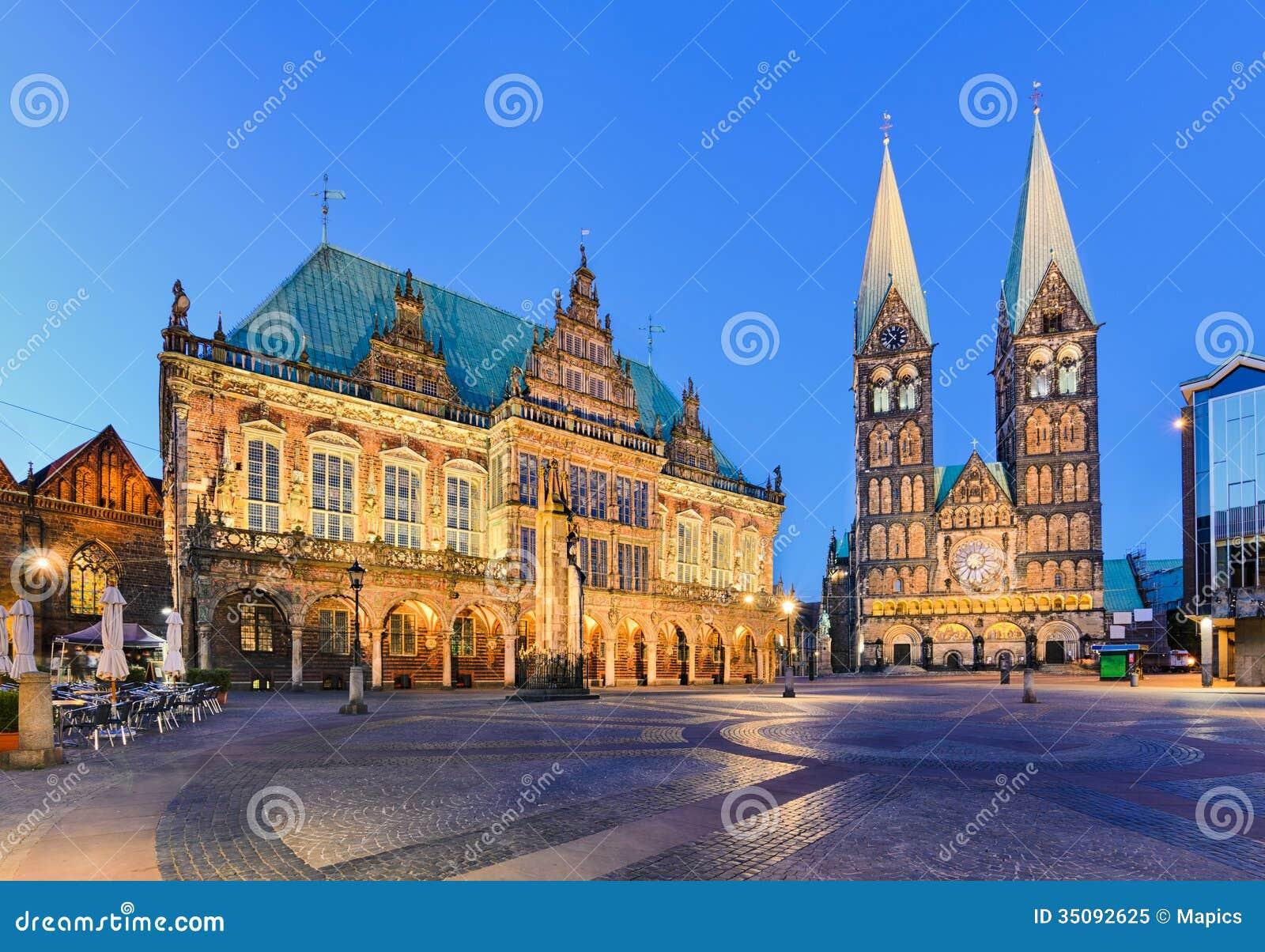 city hall and the cathedral of bremen germany stock image image of market marktplatz 35092625. Black Bedroom Furniture Sets. Home Design Ideas