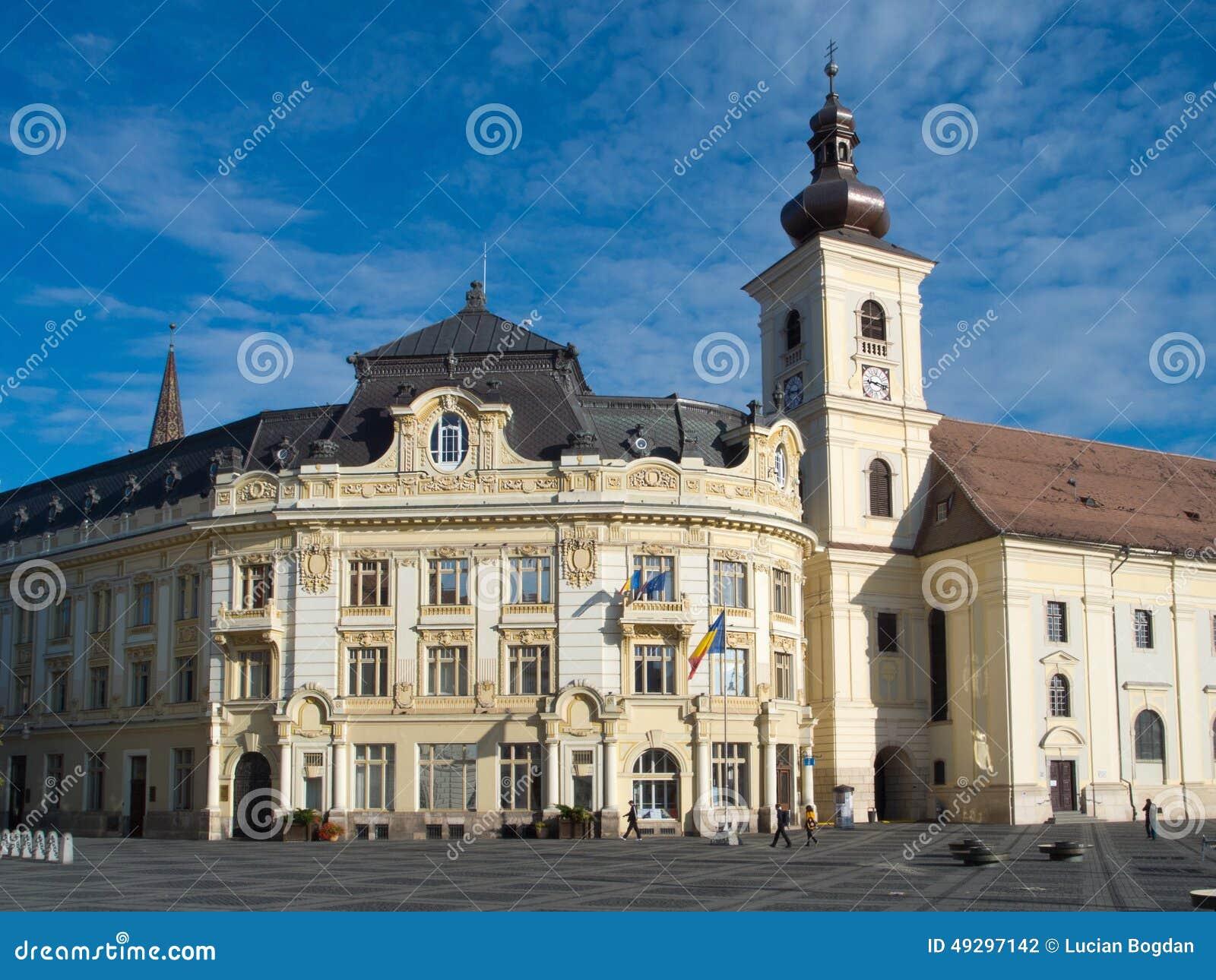 City Hall and Catholic Church of Sibiu
