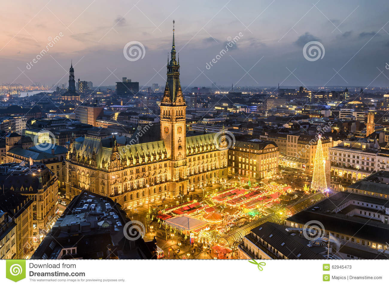 City Hall and Christmas market in Hamburg, Germany