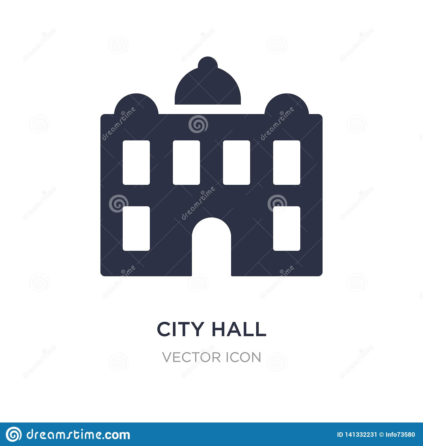 city hall icon on white background. Simple element illustration from City elements concept