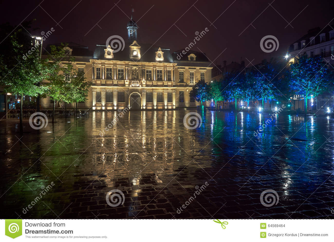 city hall in the rain at night in troyes stock photo image of europe night 64569464. Black Bedroom Furniture Sets. Home Design Ideas