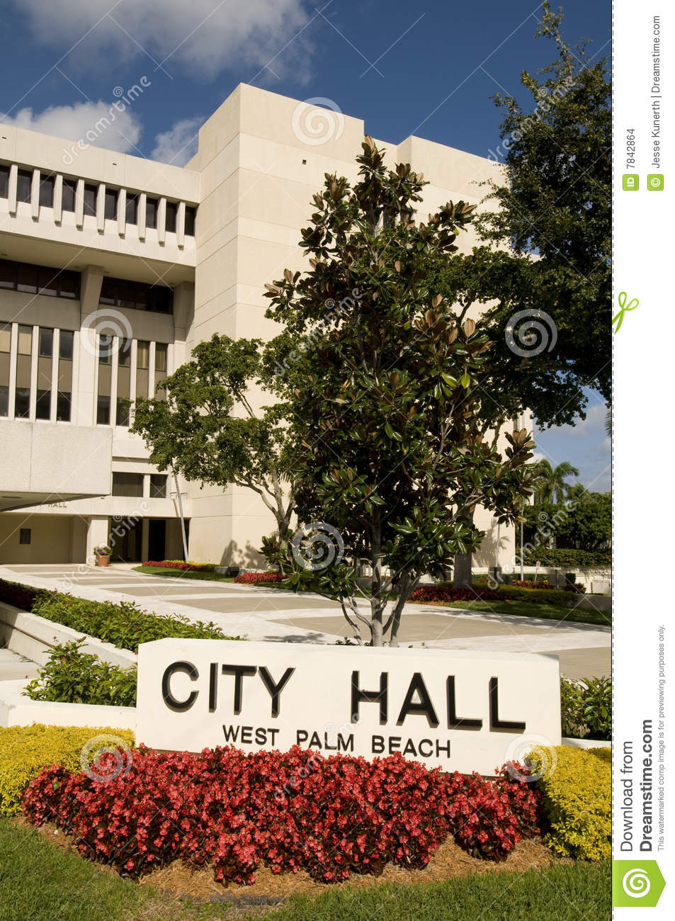 City Hall At West Palm Beach Florida Stock Photo - Image of bushes ...