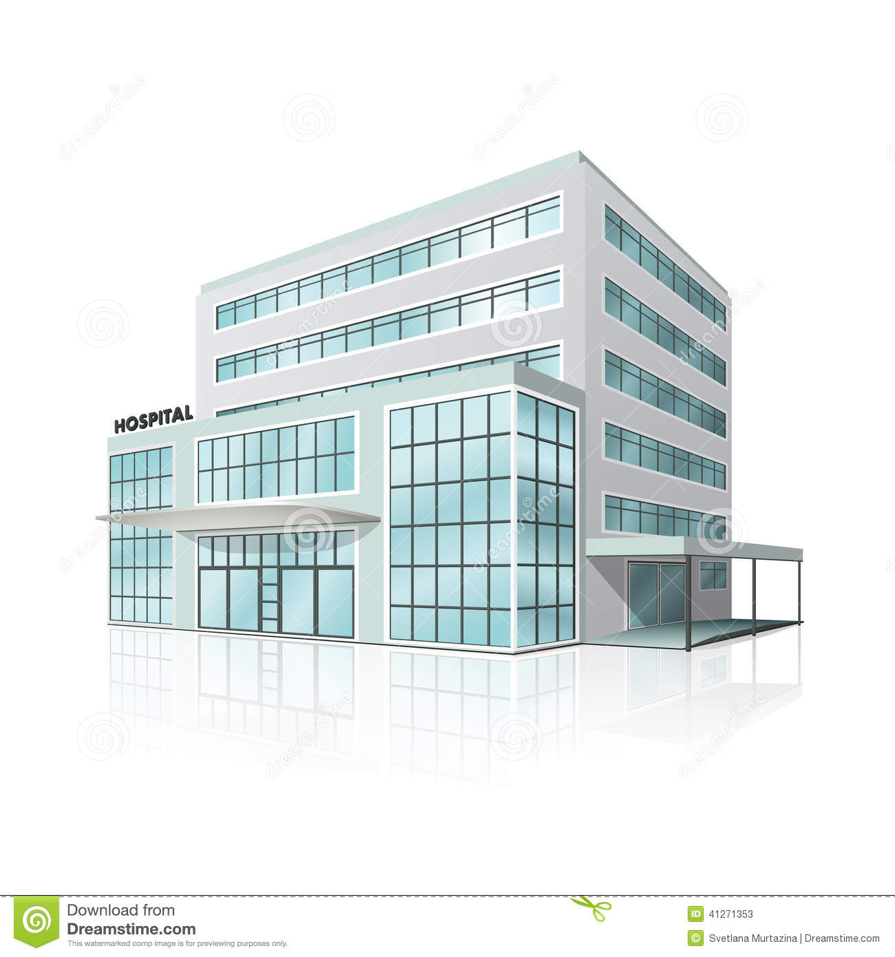 City hospital building with reflection stock vector illustration city hospital building with reflection malvernweather Gallery