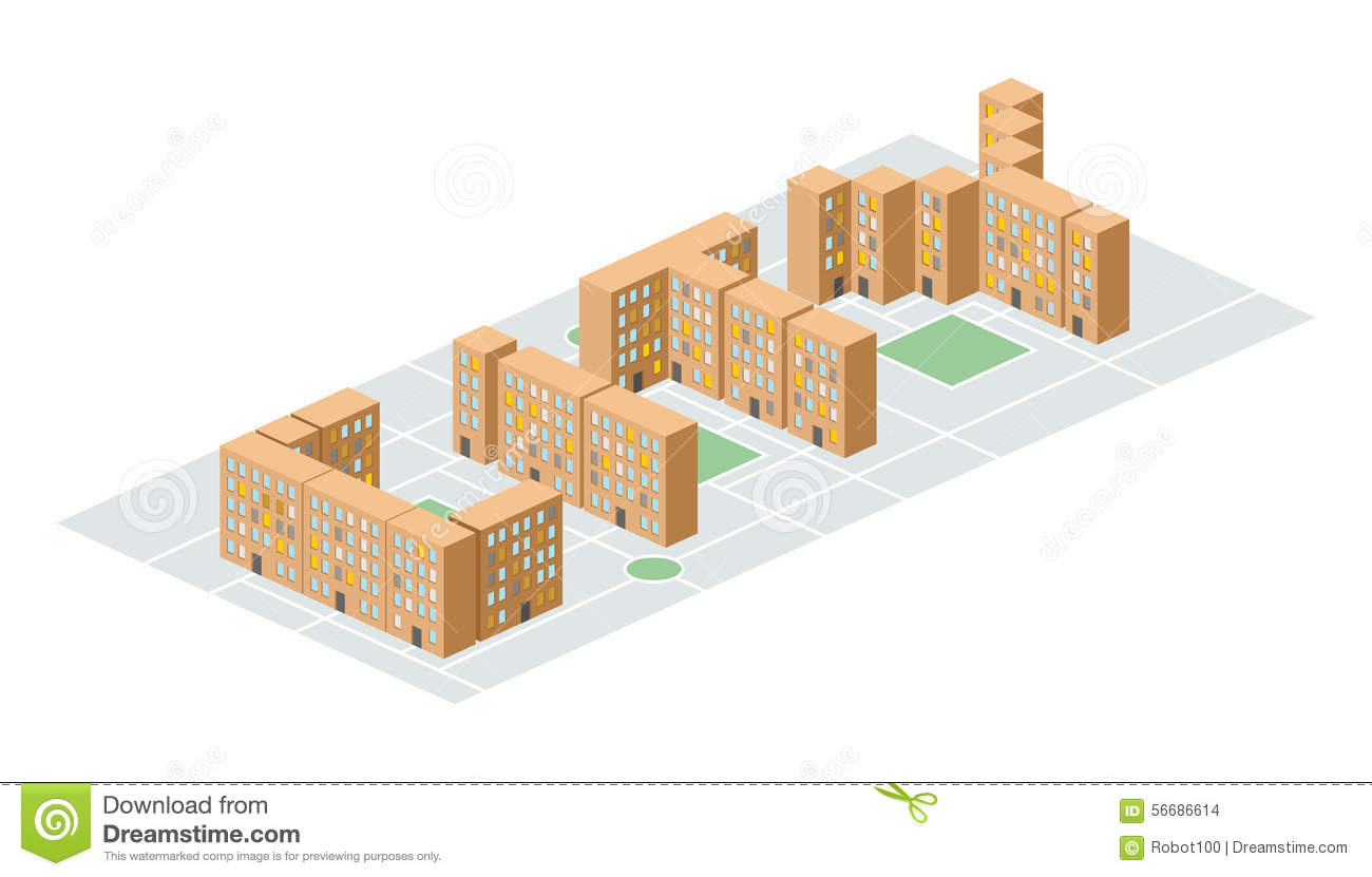 isometric building in the form of letters yard people liv