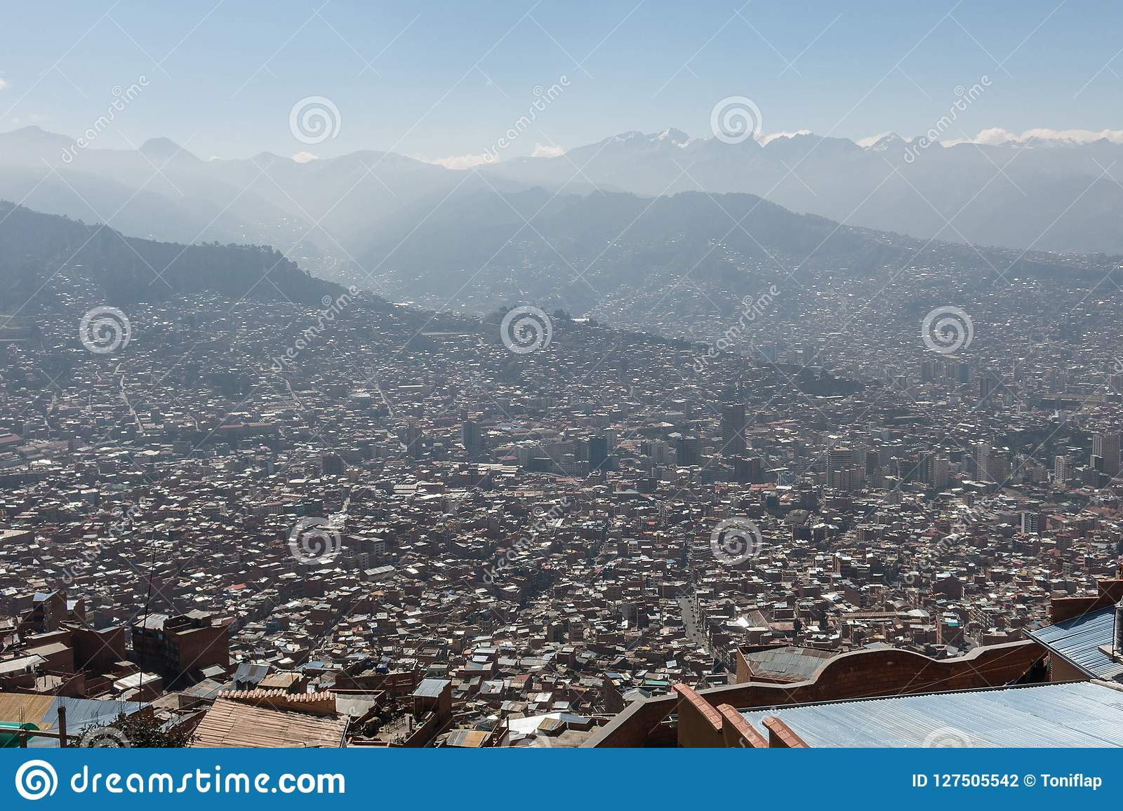 The City Of La Paz High In The Andes Mountains In Bolivia Stock Photo Image Of Bolivian Landscape 127505542