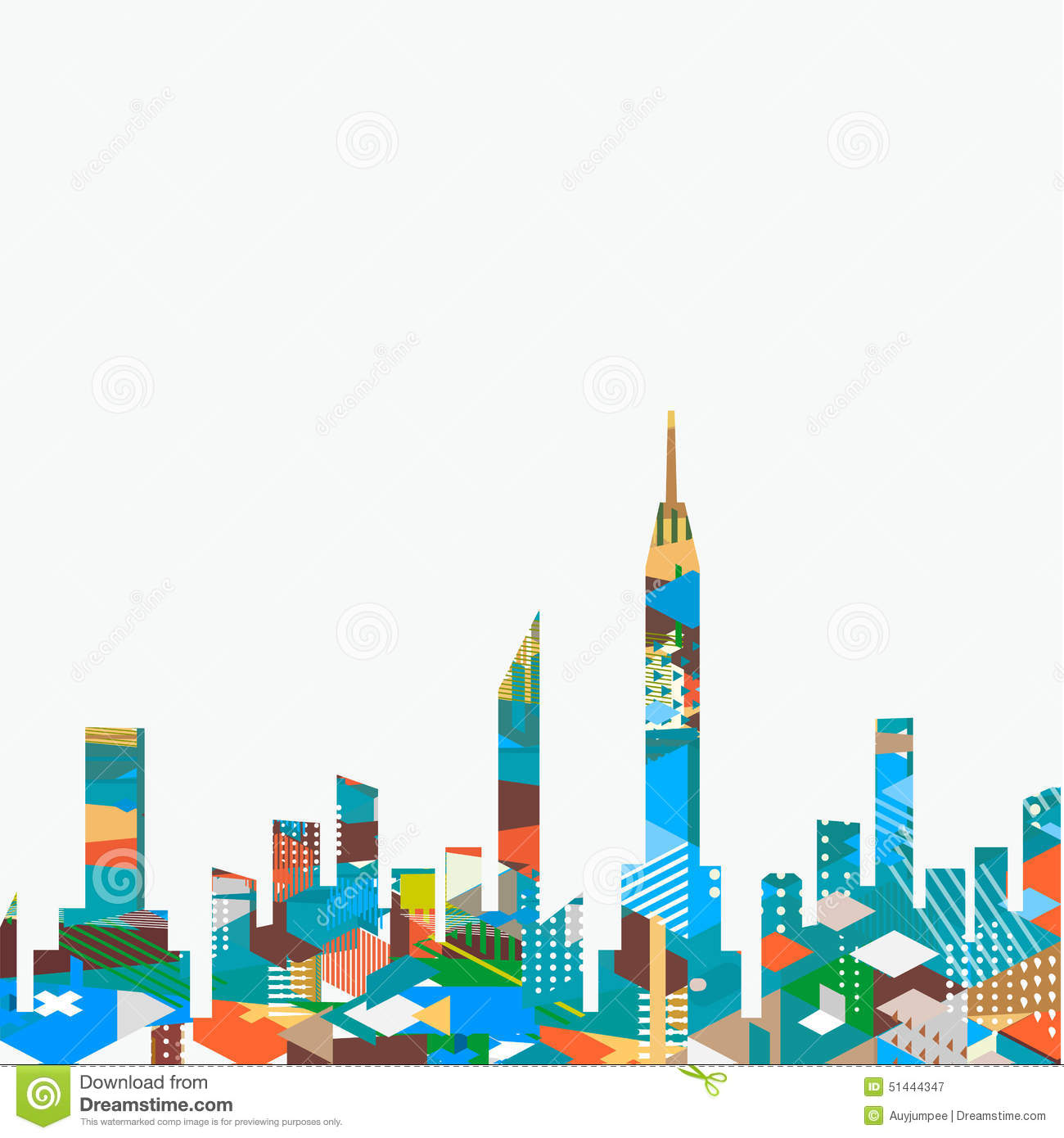 Town Landscape Vector Illustration: City Landscape With Colorful Geometric Graphic Isolate On