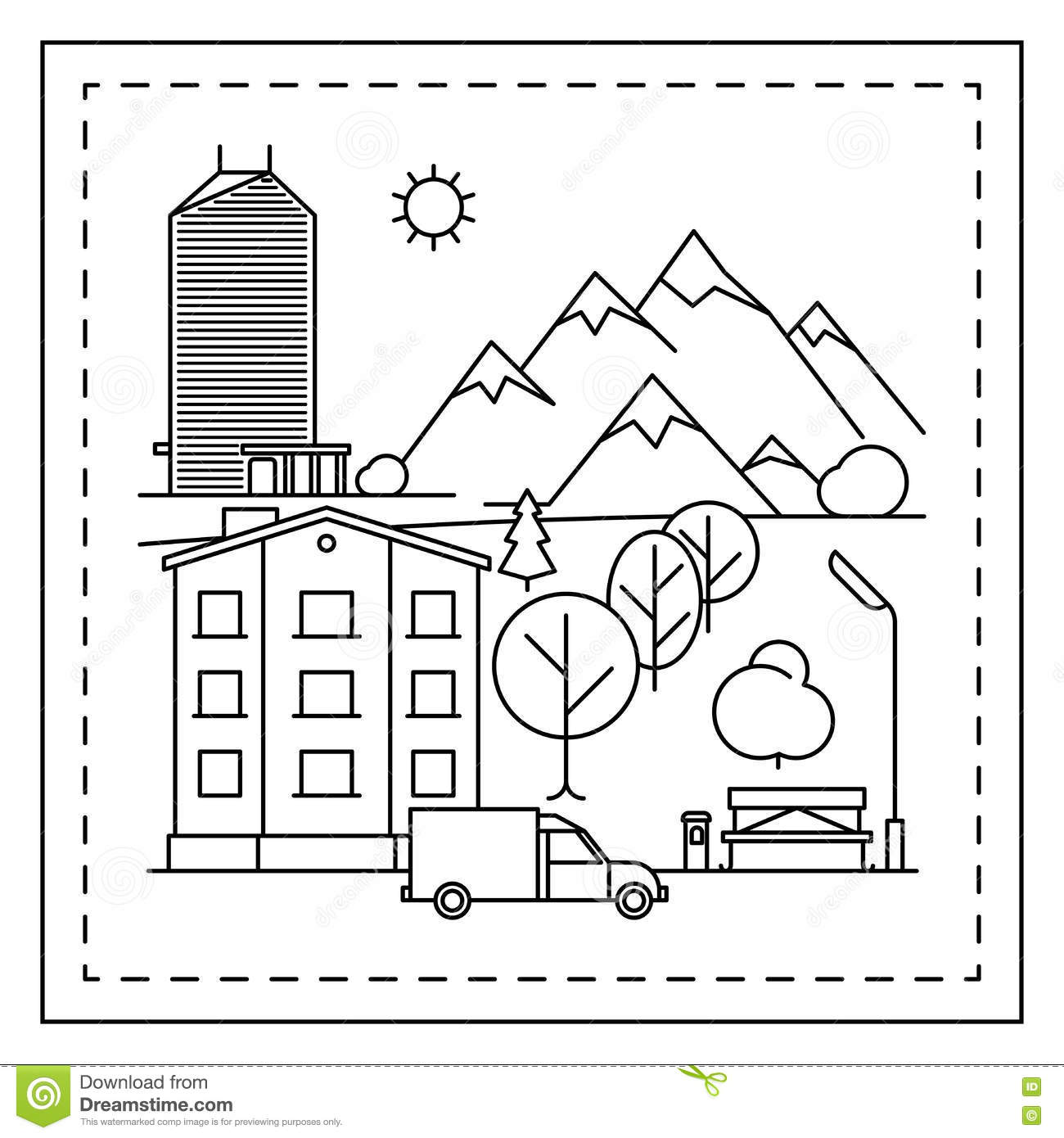 Download City Landscape Coloring Page For Kids Stock Vector