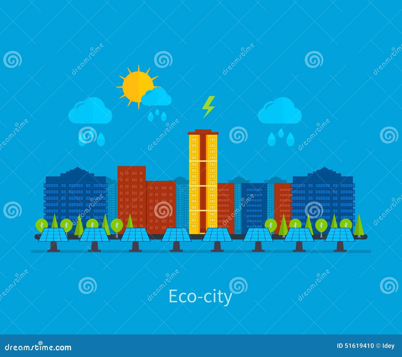 Environmental Concept Earthfriendly Landscapes: City Landscape. Environmentally Friendly House Stock