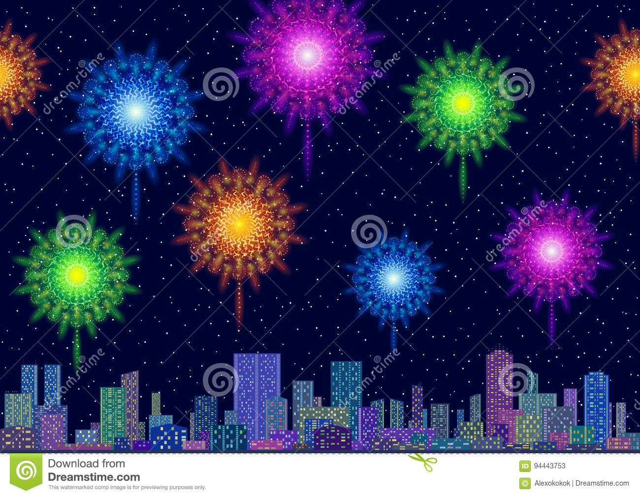 Wallpaper Salute Sky Holiday Colorful 3376x4220: City Landscape With Fireworks Stock Vector