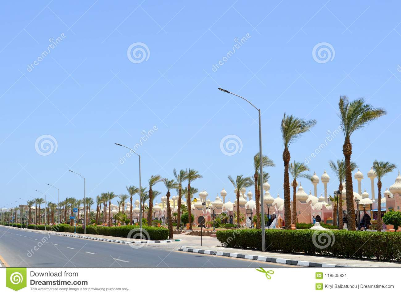 City landscape with a road, beautiful temples, mosques, buildings in the Arab Muslim Islamic Egyptian street against the backdrop