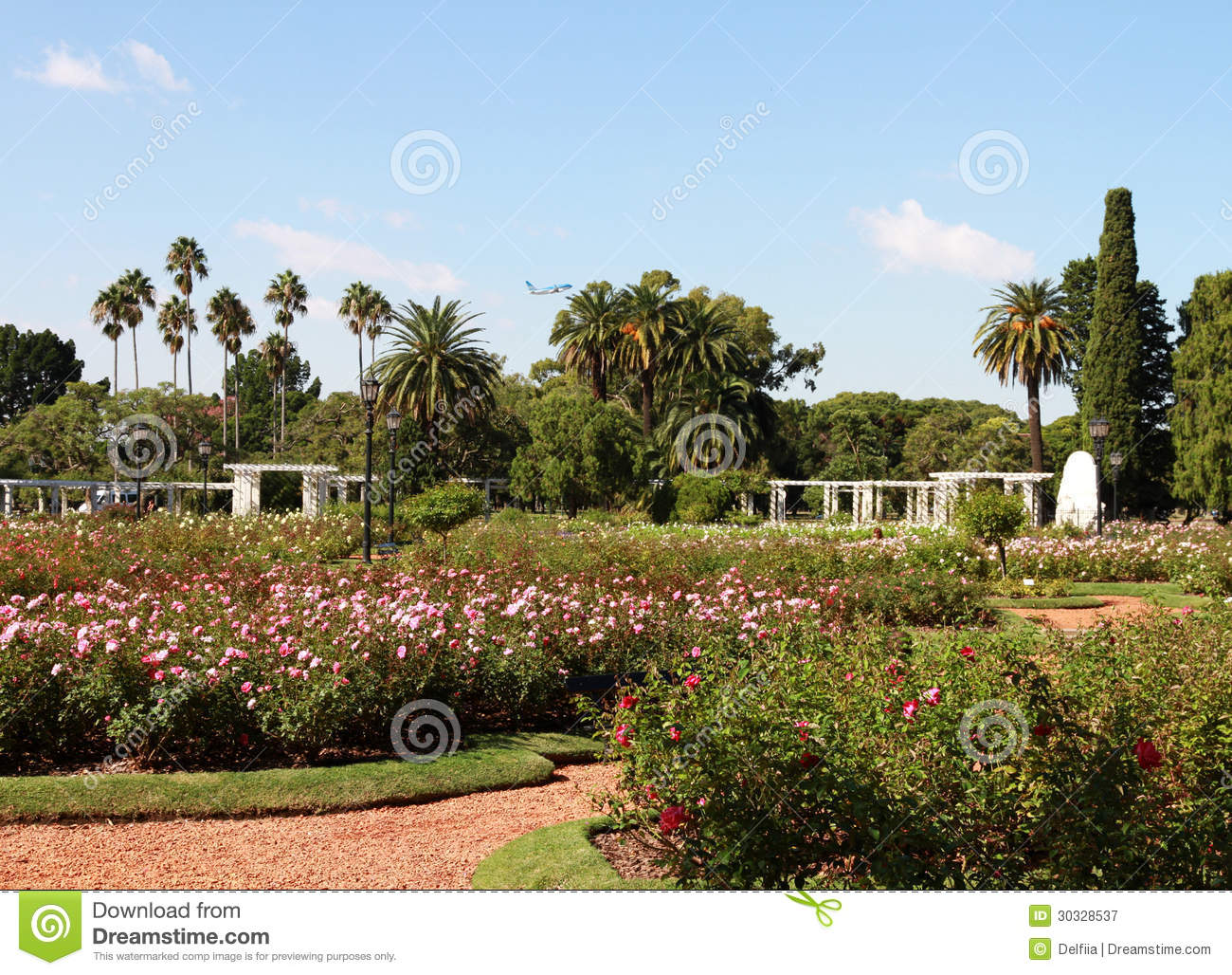 City Landscape In A Summer Garden Of Roses Stock Image - Image of ...