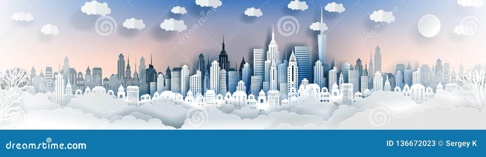 City landscape template. Paper city landscape. Downtown landscape with high skyscrapers.