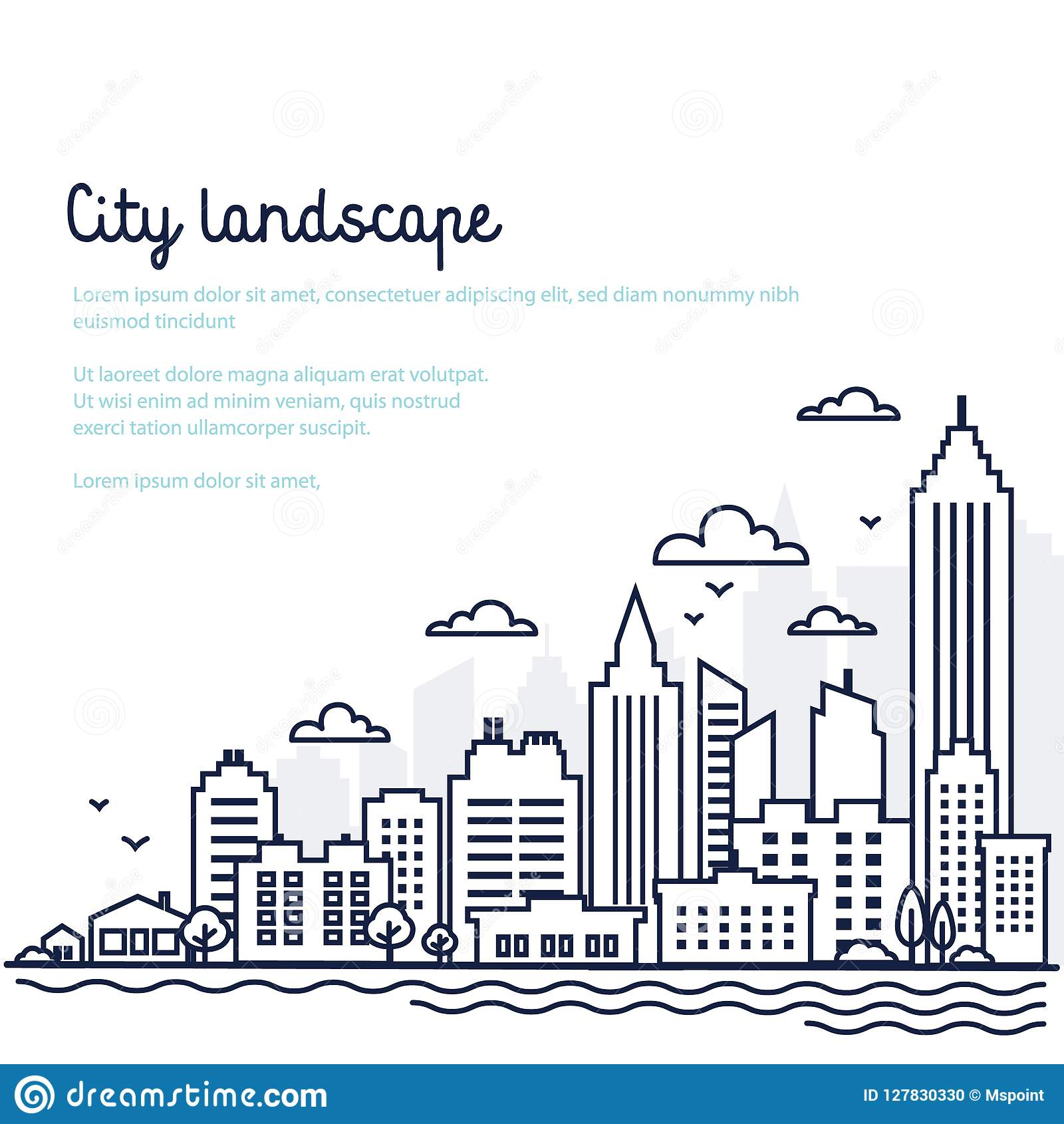 City landscape template. Thin line City landscape. Downtown landscape with high skyscrapers. Panorama architecture