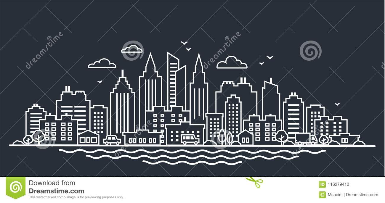 City landscape template. Thin line night City landscape. Downtown landscape with high skyscrapers on dark. Panorama