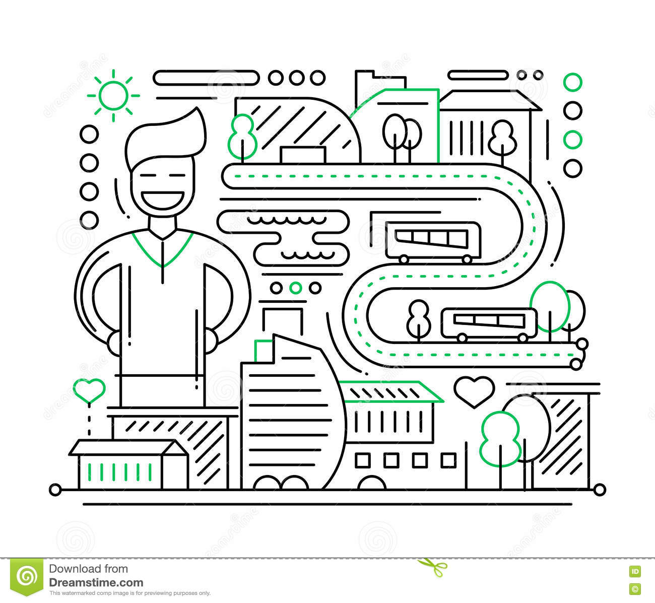 Line Composition In Fashion Designing : City life line design composition vector illustration