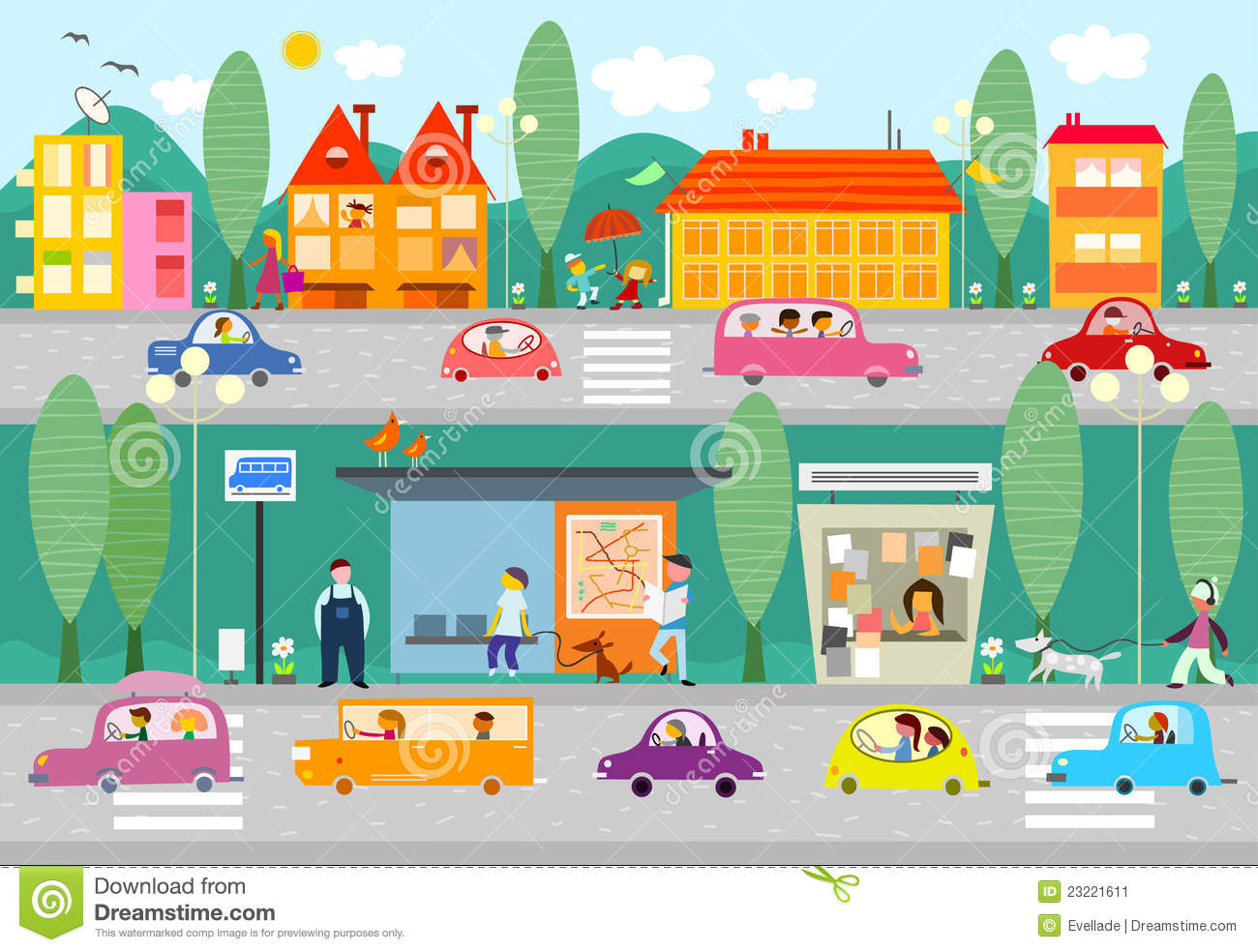 City Life Scene With Bus Stop Stock Image Image 23221611