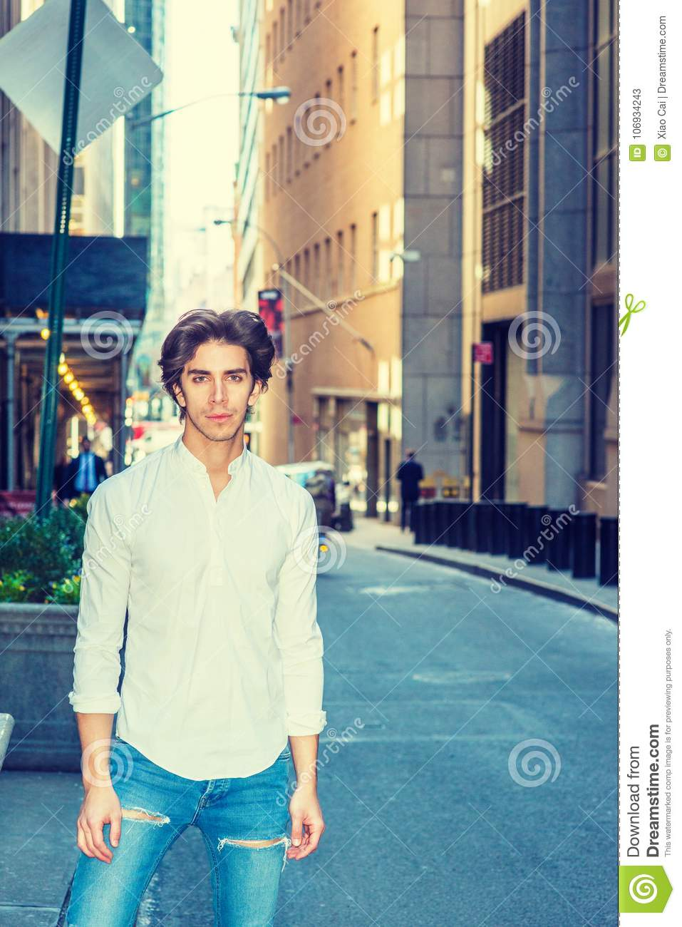 City life  stock image  Image of male, shirt, blue, jeans