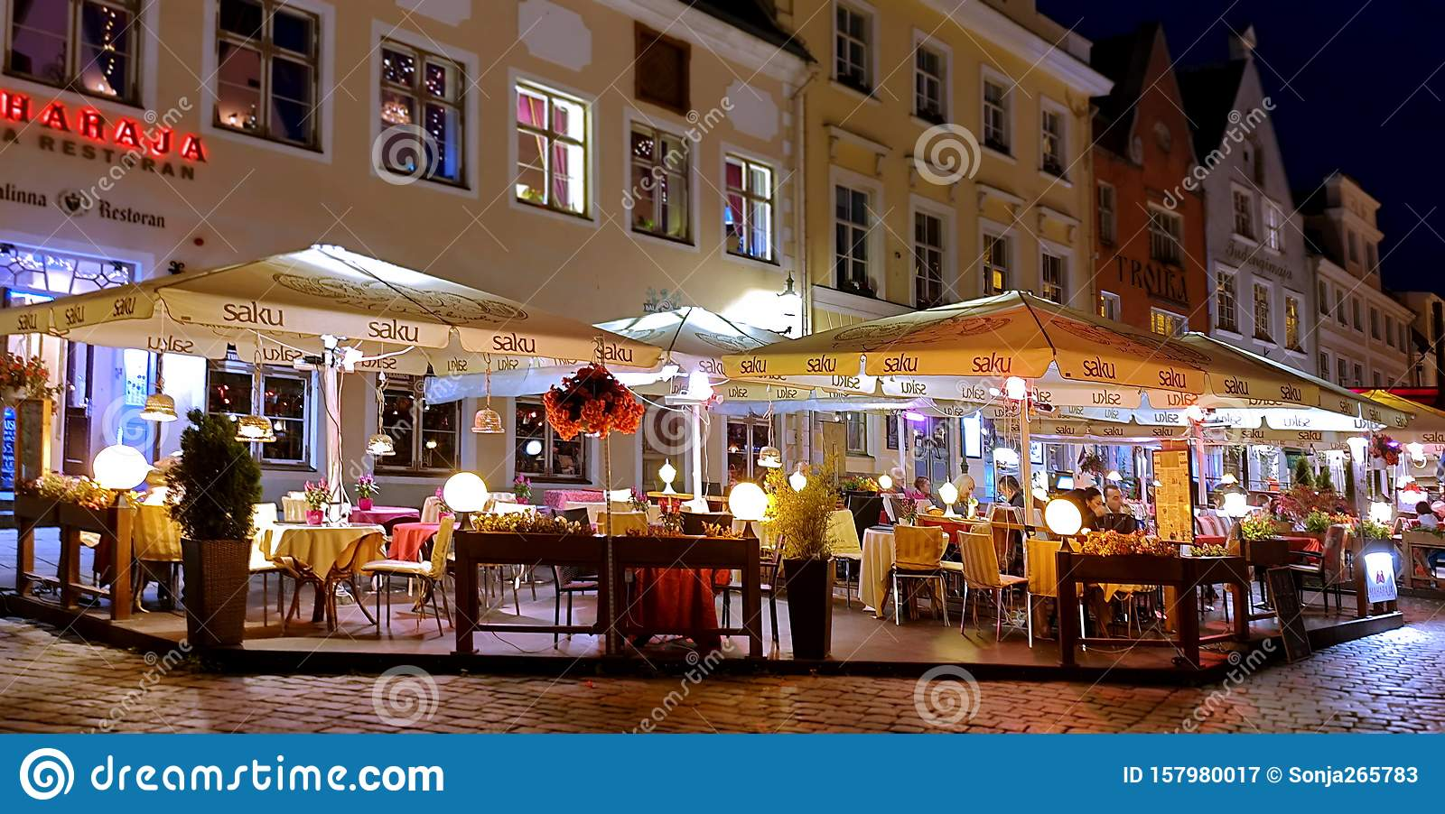 City Night Life Street Cafe Tables People Dinner Pink Light On Table Lifestyle Travel Restaurant City Light Old Town Tallinn Editorial Photography Image Of Lifestyle Travel 157980017