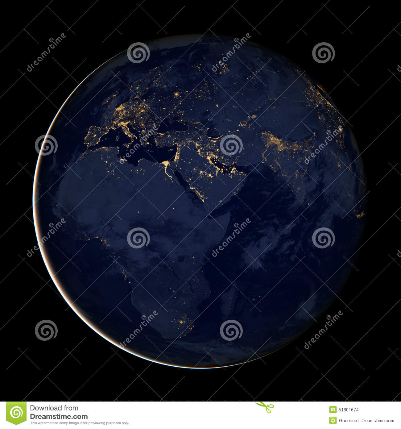 Map Of Africa From Space.Europe Africa Asia City Lights Map Of The Eastern Hemisphere