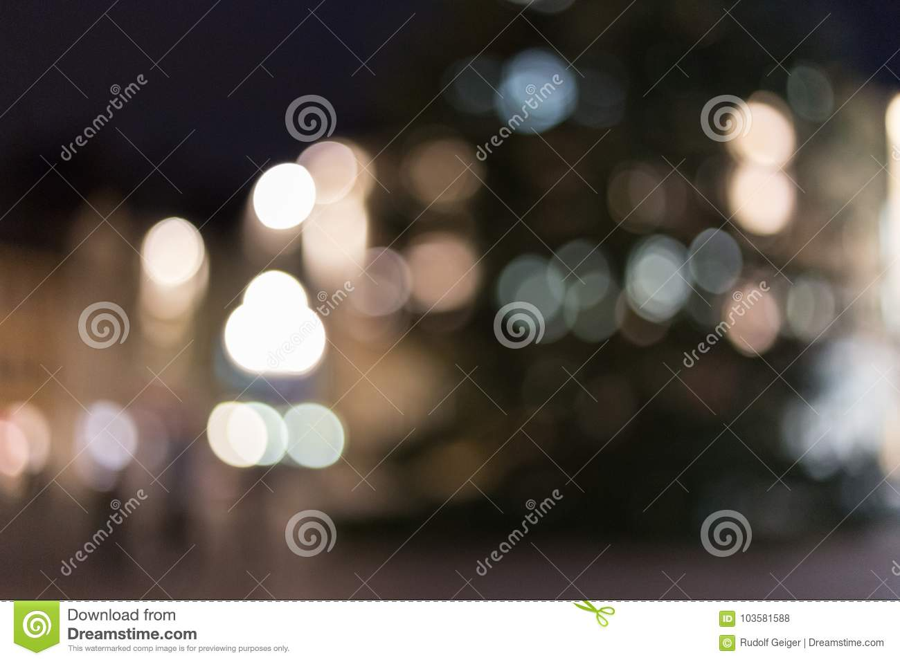 City lights at night with bokeh effects