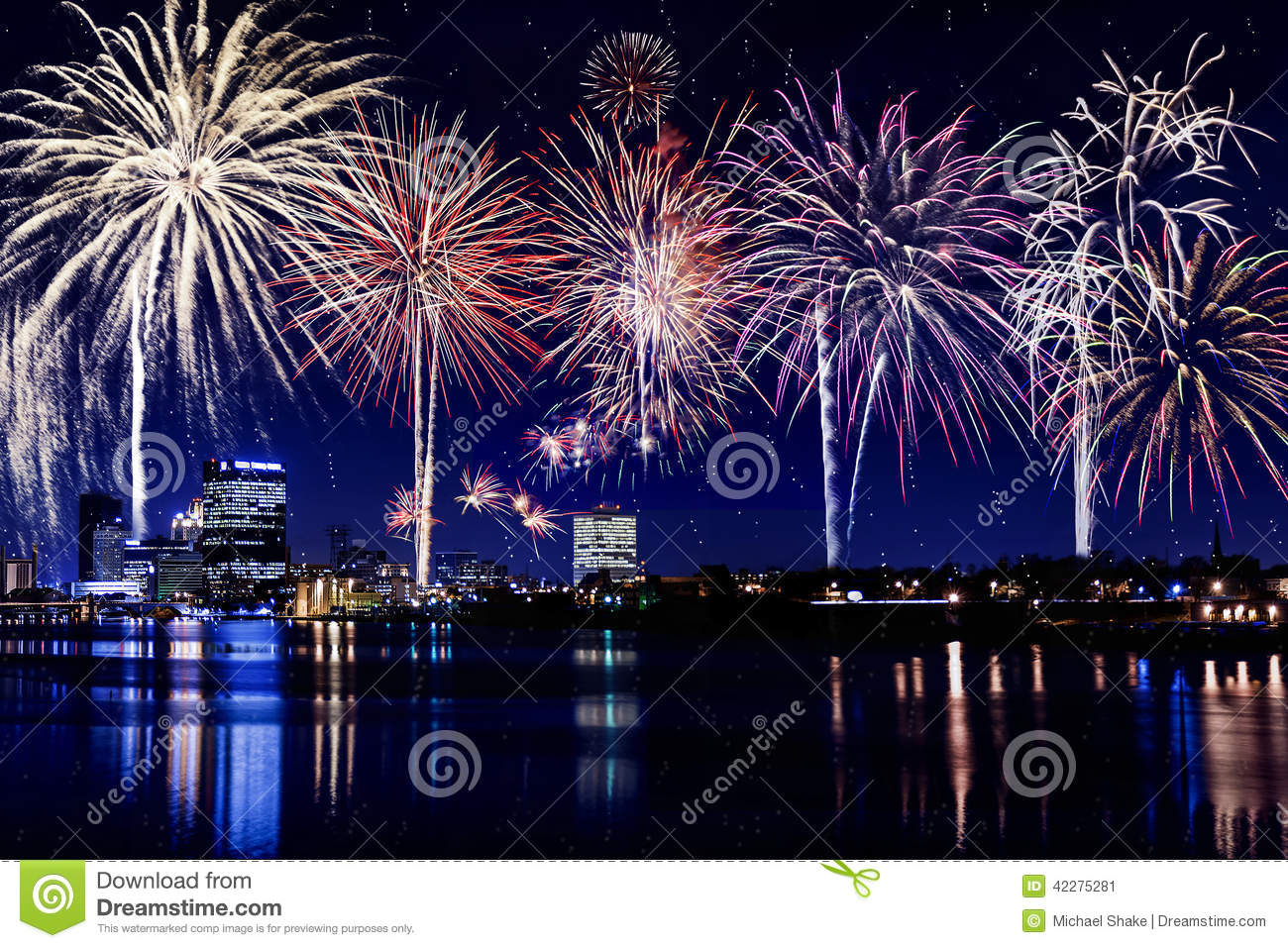 City Lights Skyline With Fireworks Stock Image Image Of