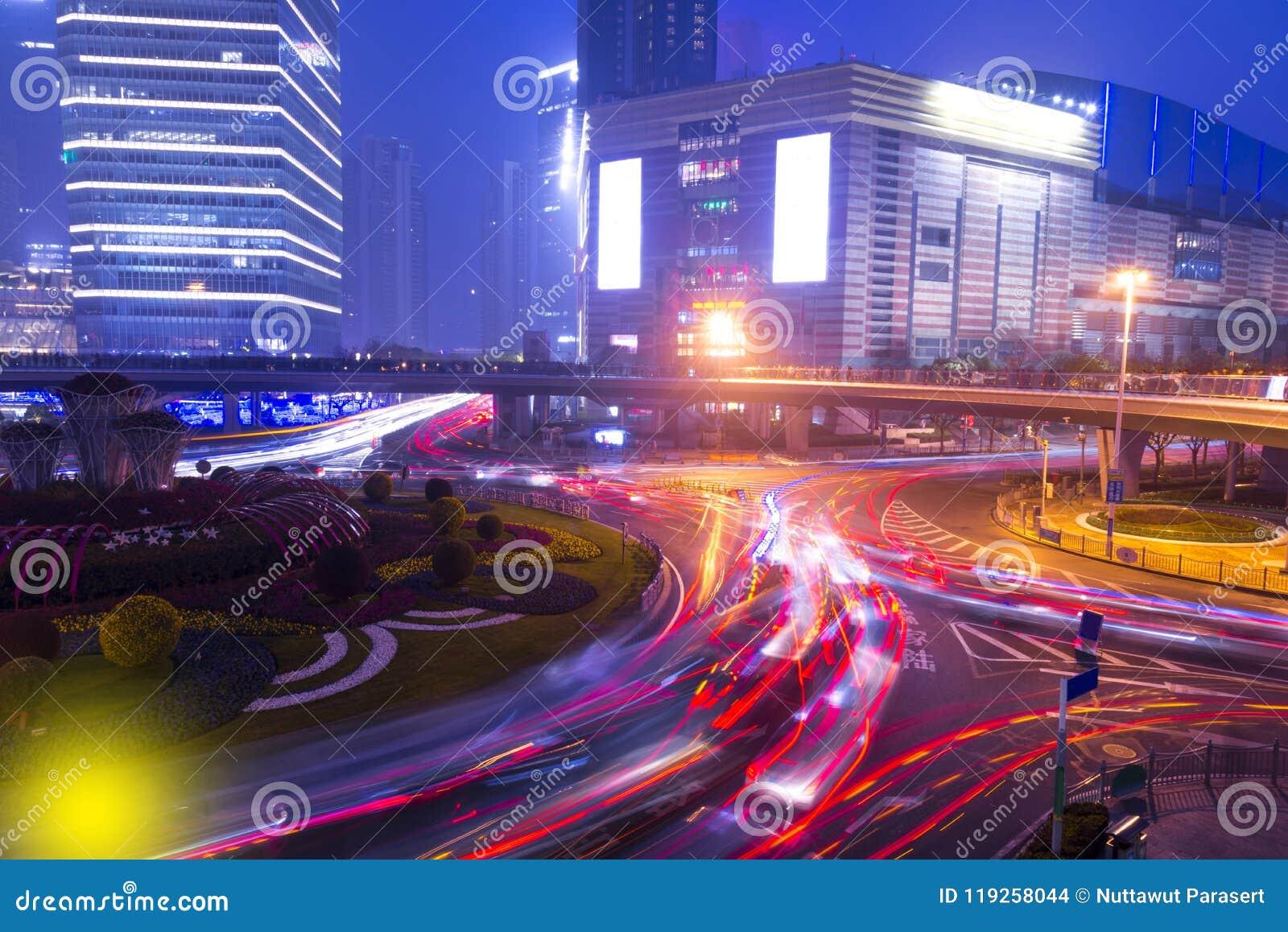 City lights and traffic lights on modern New Shanghai financal d