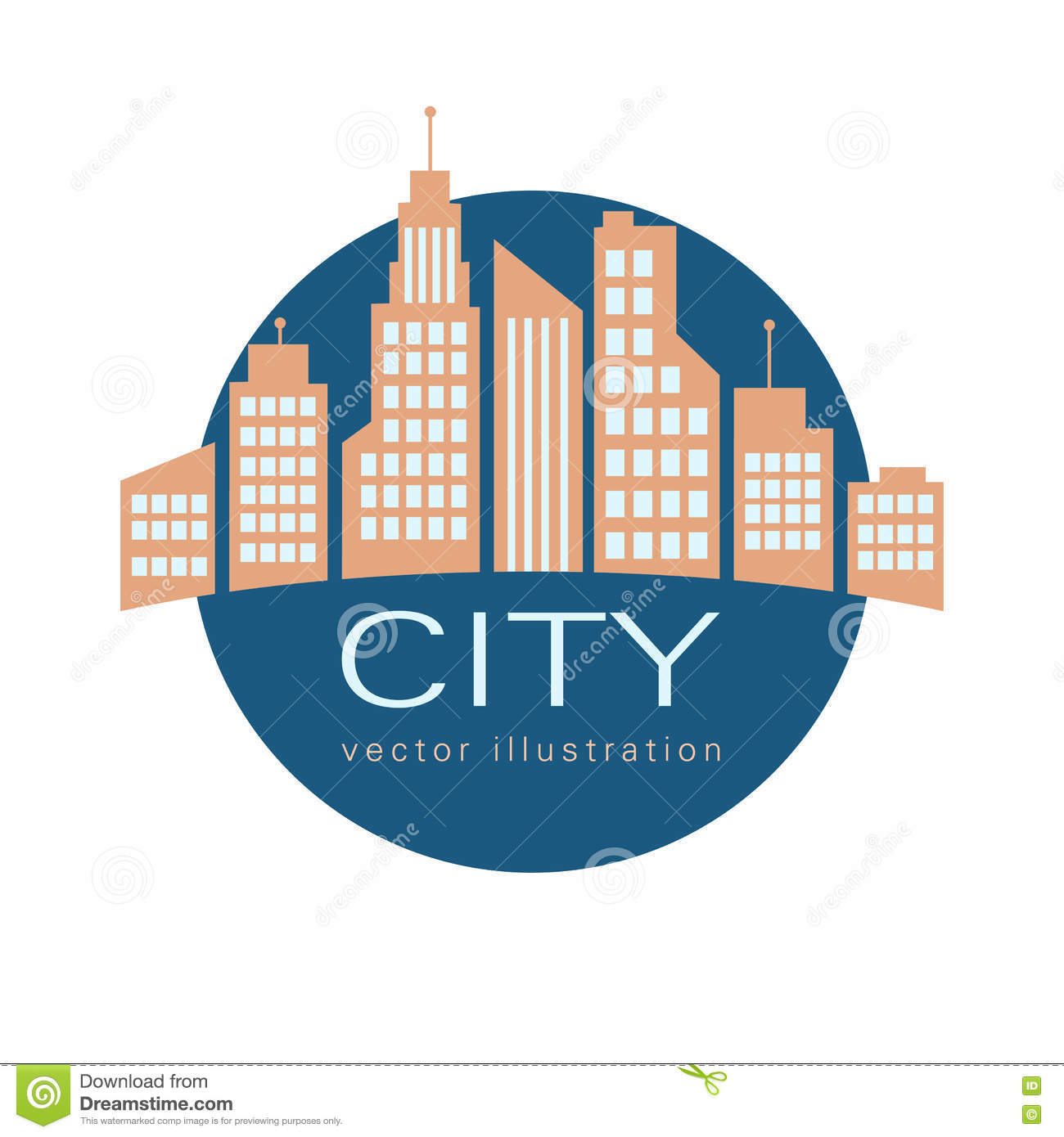 Landscape Lighting Icon: City Logo, Vector Building Web Icon Stock Vector