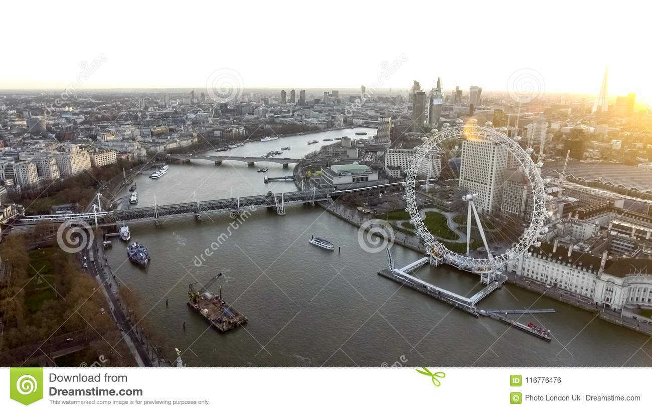 High Angle Aerial View of London Eye Wheel, Thames River