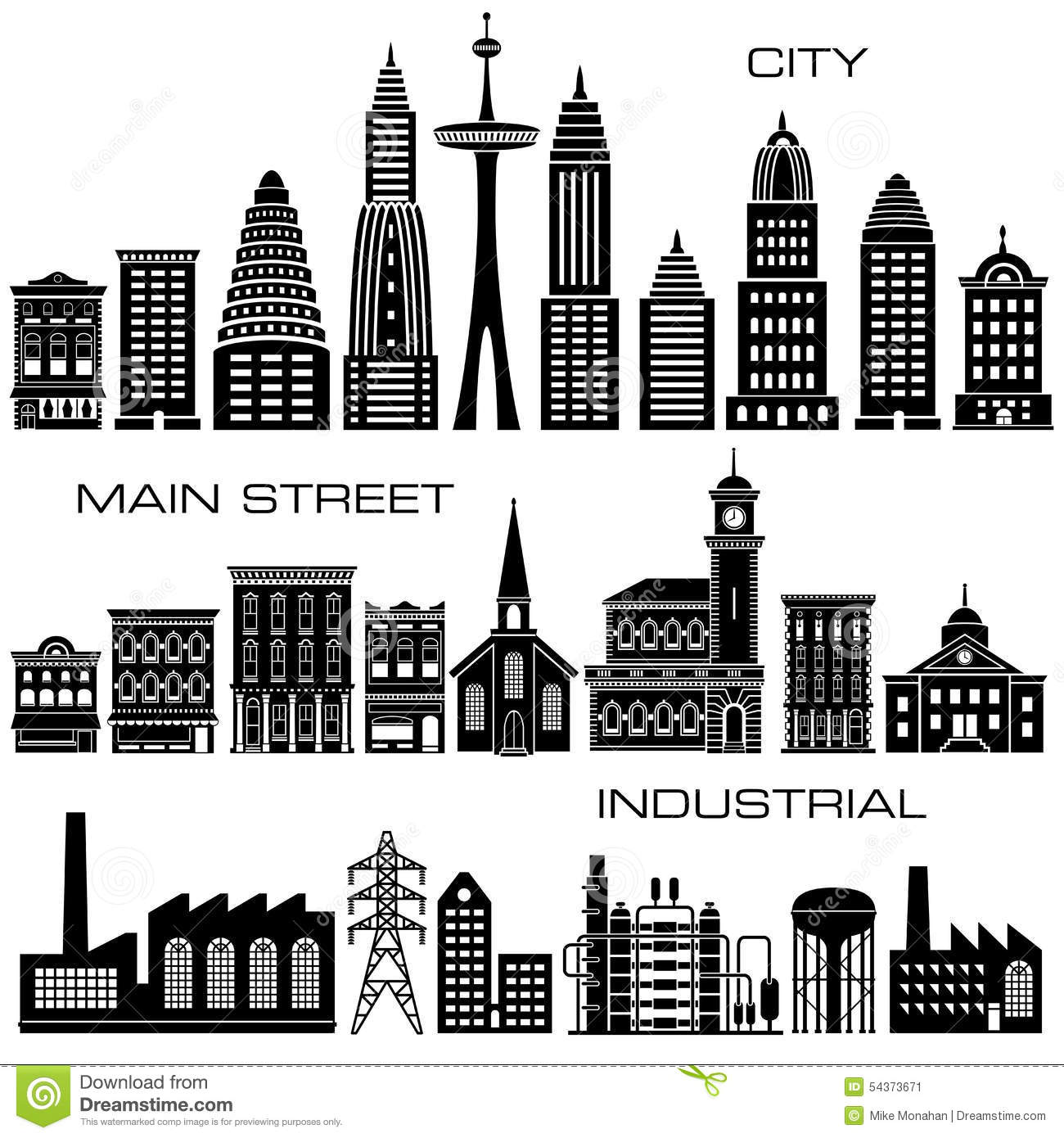 24 City, Main Street and Industrial Buildings icon set