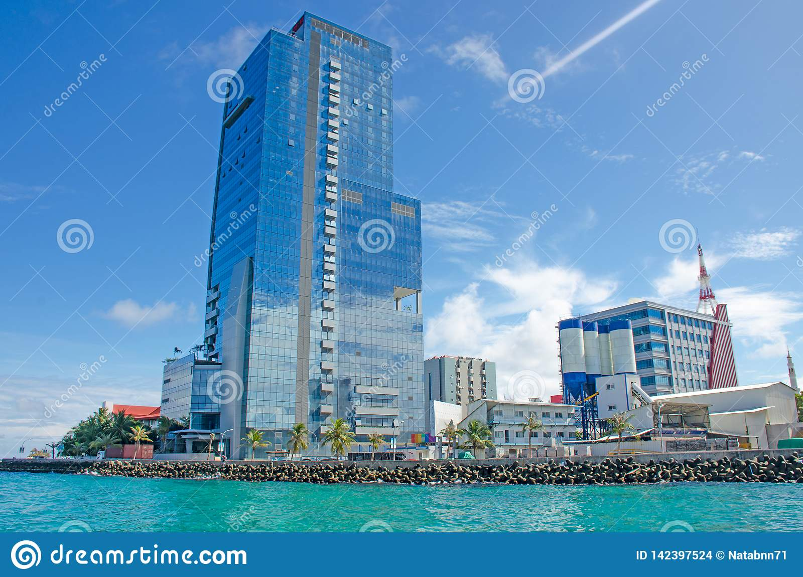 City Of Male Island Of Maldives View From The Ocean Stock