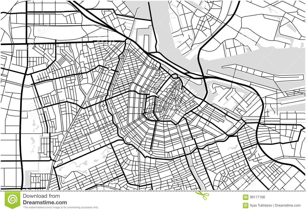 Cartina Amsterdam Download.City Map Of Amsterdam Netherlands Stock Vector Illustration Of