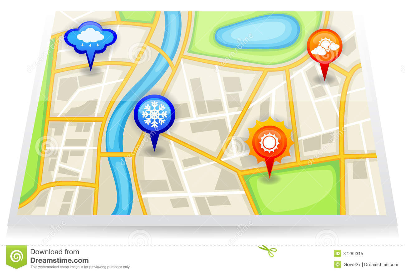 A city map with different weather forecast marker royalty Create a map online free